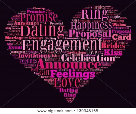 Engagement word cloud heart concept with a black background