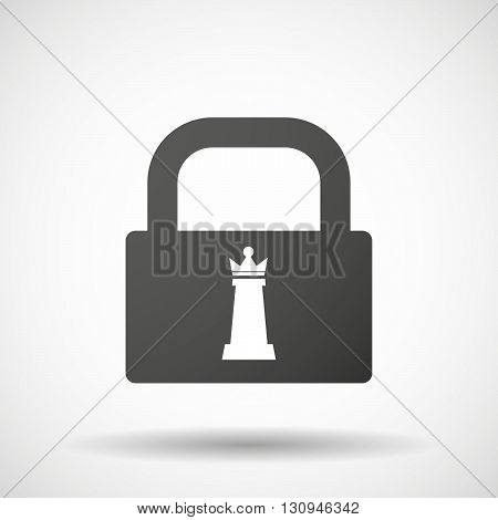 Isolated Lock Pad Icon With A  Queen   Chess Figure