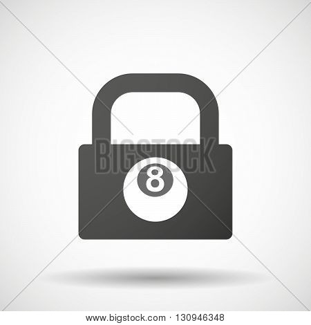 Isolated Lock Pad Icon With  A Pool Ball
