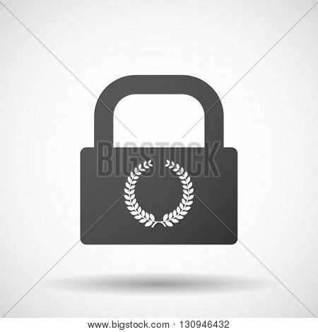 Isolated Lock Pad Icon With  A Laurel Crown Sign