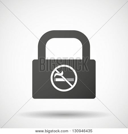 Isolated Lock Pad Icon With  A No Smoking Sign