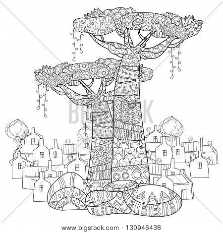 Hand drawn doodle outline tree  and town decorated with floral ornaments.Vector zen illustration.Floral ornament.Sketch for tattoo, poster or adult coloring pages.Boho style.