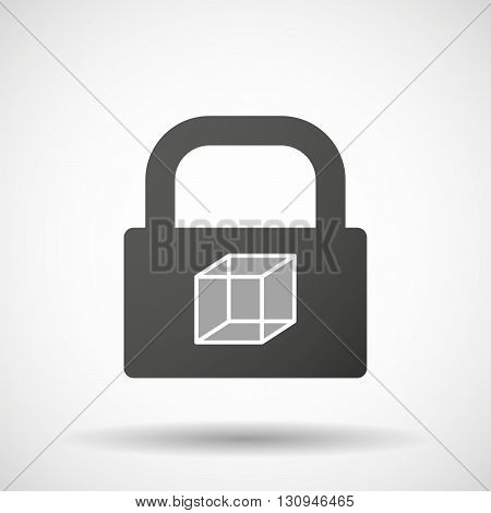 Isolated Lock Pad Icon With  A Cube Sign