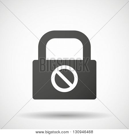Isolated Lock Pad Icon With  A Forbidden Sign