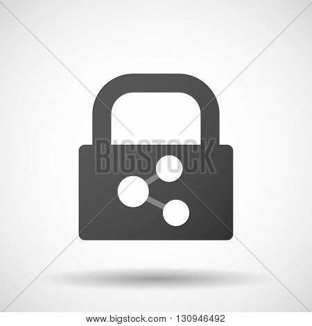 Isolated Lock Pad Icon With  A Network Sign