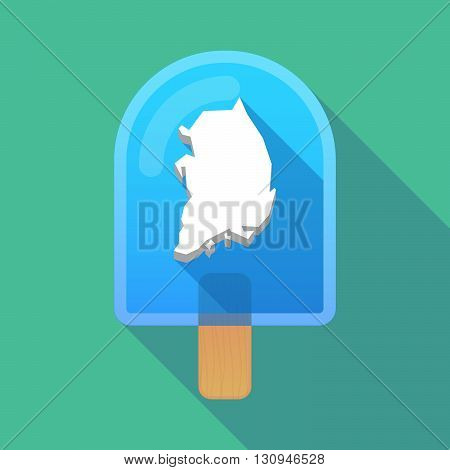 Long Shadow Ice Cream Icon With  The Map Of South Korea