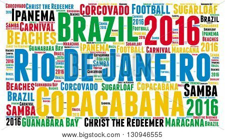 Rio de Janeiro word cloud with a white background