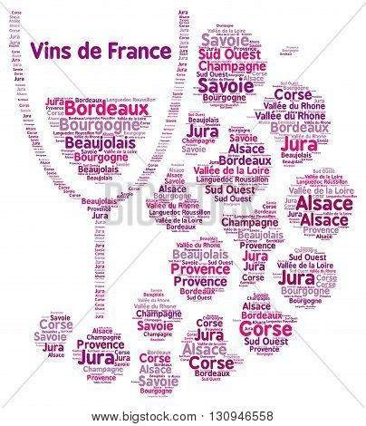 French wines word cloud with a white background
