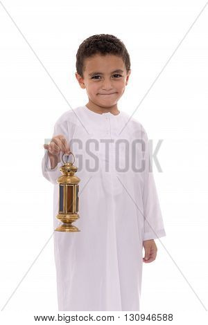 Smiling Young Boy Celebrating Ramadan
