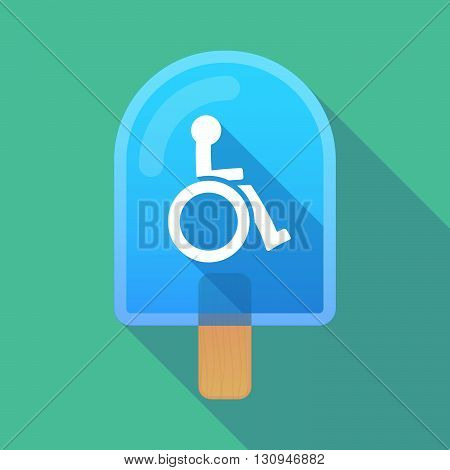 Long Shadow Ice Cream Icon With  A Human Figure In A Wheelchair Icon