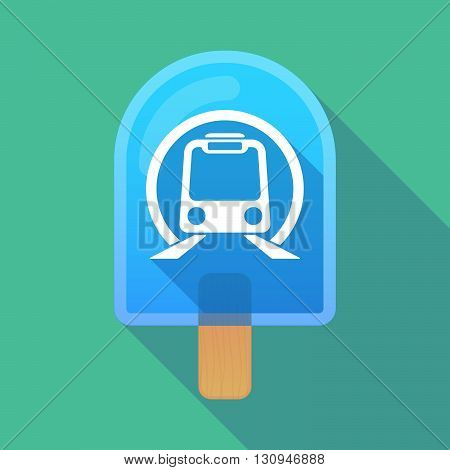 Long Shadow Ice Cream Icon With  A Subway Train Icon