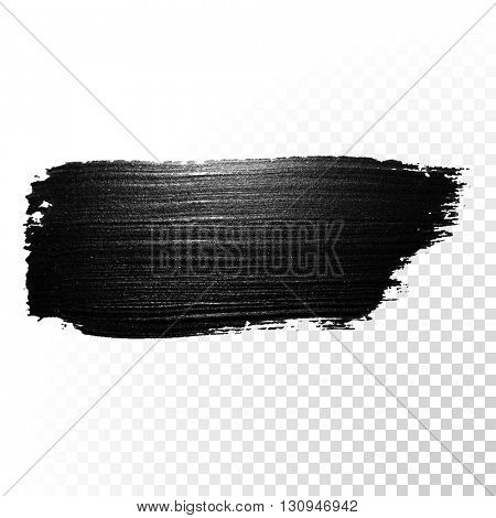 Vector black paint smear stroke stain. Abstract  black textured watercolor illustration.