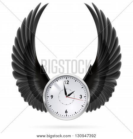 White clock with black wings. Swing. Fly.