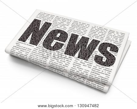 News concept: Pixelated black text News on Newspaper background, 3D rendering