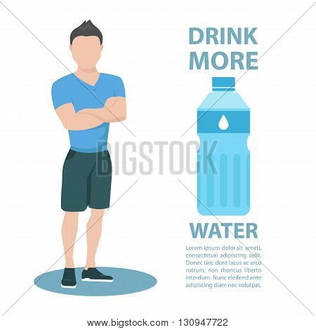 Sporty young man in sportswear with inscription Drink more water. Healthy lifestyle concept. Motivation poster template. Bottle of water. Flat style vector illustration.