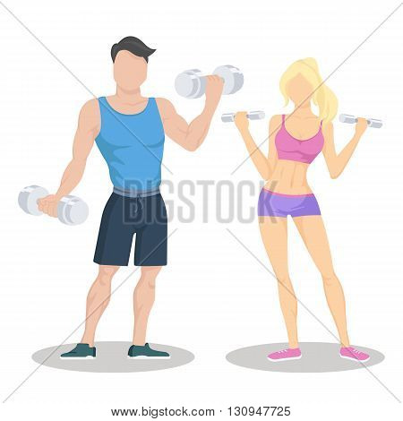 Fitness young sporty couple with dumbbells. Fit couple. Workout partners. Flat vector illustration.