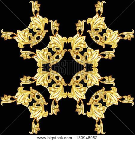 Gold flower pattern on the black background