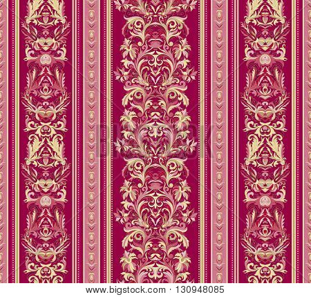 Seamless vintage background. Royal renaissance striped wallpaper. Vector background for textile design.  Wallpaper, background, baroque pattern. Gold on vinous backdrop.