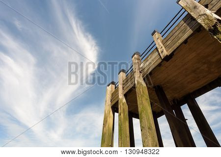 Wooden Pier And Blue Sky