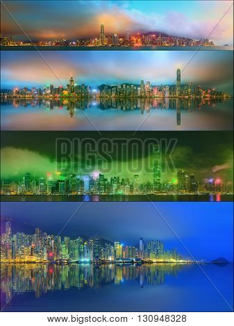 Beautiful cityscape set and collage of Financial district, Hong Kong China