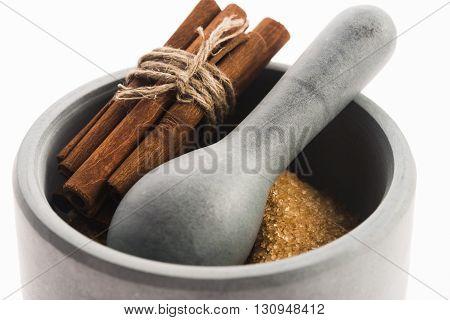Cinnamon Sticks With Pure Cane Brown Sugar In Mortar
