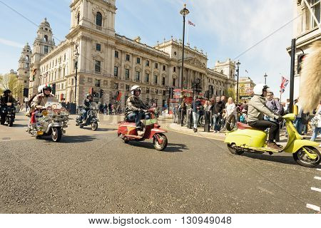 Mods And Scooters In London Mayday Rally