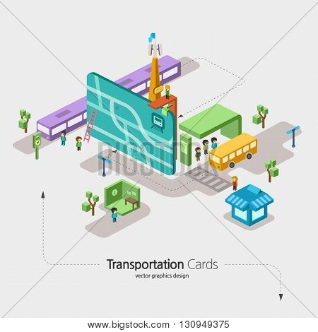 Transportation card Infographics bus E-money Access Card