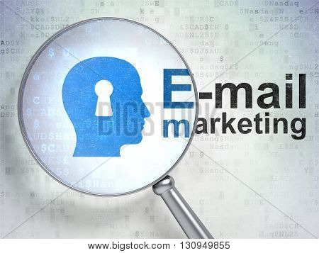 Marketing concept: magnifying optical glass with Head With Keyhole icon and E-mail Marketing word on digital background, 3D rendering