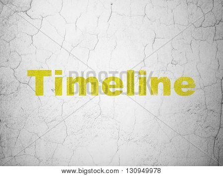 Time concept: Yellow Timeline on textured concrete wall background