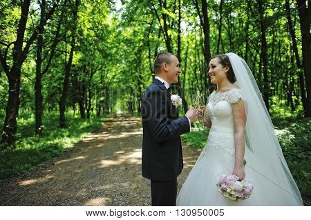 Groom With Bride Holding Wedding Glasses Of Champagne And Looked Each Other At Green Wooden Forest