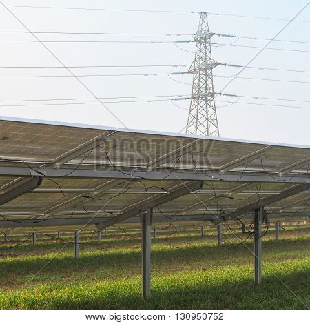 MANSFIELD WOODHOUSE ENGLAND - MARCH 13: Rearside view of solar panels at a solar energy farm currently under construction. In Mansfield Woodhouse Nottinghamshire England. On 13th March 2016.