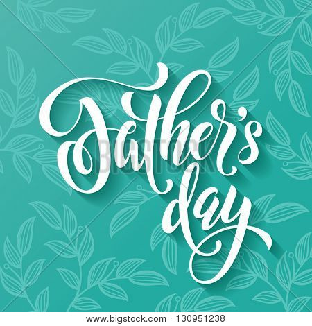 Father Day Best Dad vector greeting card. Hand drawn calligraphy lettering title with flourish  pattern.