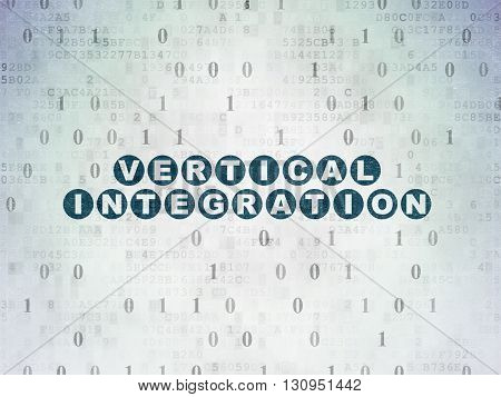 Business concept: Painted blue text Vertical Integration on Digital Data Paper background with Binary Code