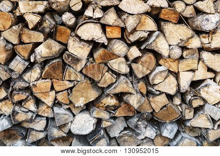 Stack of wood logs background Close up