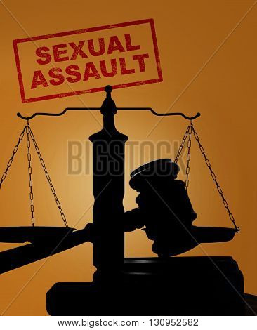 Court gavel and scales of justice silhouette with Divorce text