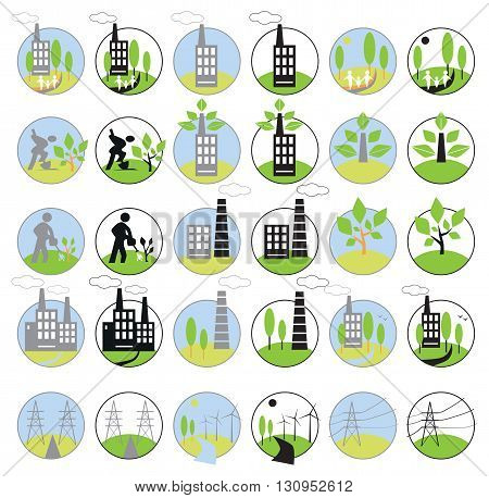 icons on white background in circles on the subject of industry energy and the environment