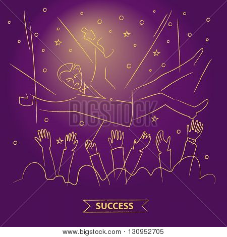 Presentation of the film award to the actor. Popularity and fame. Throw up the actor. Get rewarded for their work. The award ceremony. Vector illustration. Linear gold sketch on color background