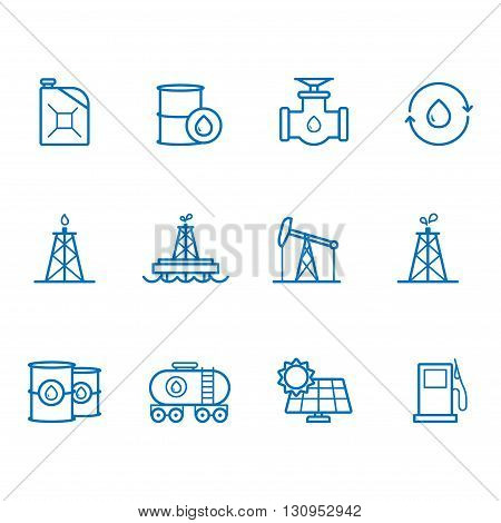 Fuel and Power generator blue line icons