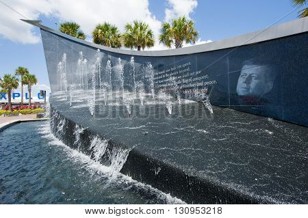 KENNEDY SPACE CENTER FLORIDA USA - APRIL 27 2016: John F. Kennedy memorial at the entrance of the visitor complex of Kennedy Space Center near Cape Canaveral in Florida