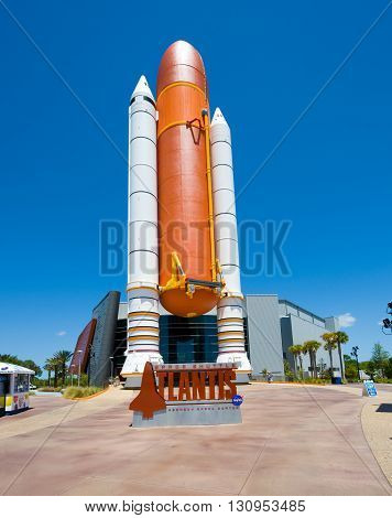 KENNEDY SPACE CENTER FLORIDA USA - APRIL 27 2016: The entrance of the building where Space Shuttle Atlantis is exhibited at the visitor complex of Kennedy Space Center