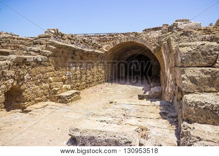 Fragment Of Buildings Inside In The Ruined City