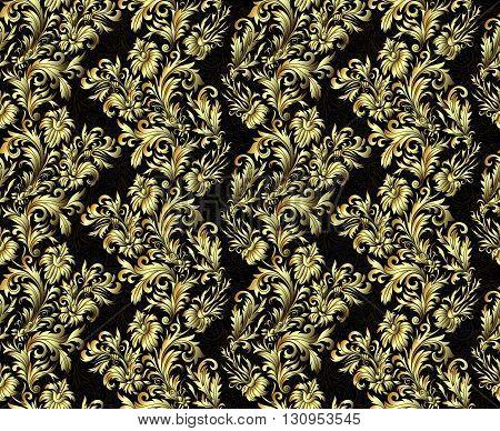 Gold damask ornaments. Floral hand draw doodle ornament. Page, web royal decoration on black background in vintage style. Vector illustration