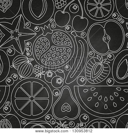 Seamless pattern made of fruits and berries.  Chalkboard background.  Vector illustration.