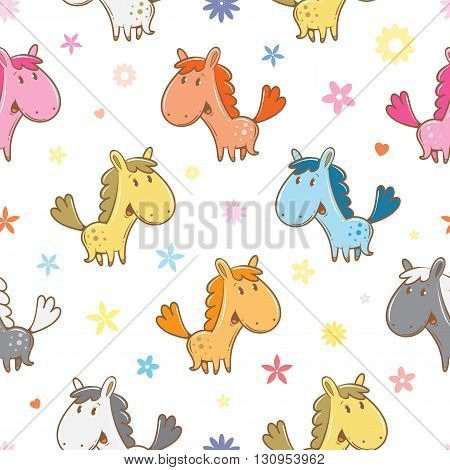 Seamless pattern with cute cartoon horses and flowers on  white background. Funny animals. Vector image. Children's illustration.