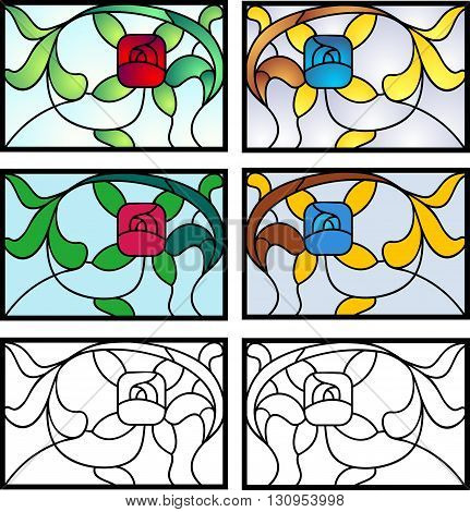 Stained glass design in full color, flat, and black outline versions. Typical of 20's private homes in the USA