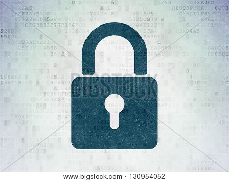 Safety concept: Painted blue Closed Padlock icon on Digital Data Paper background