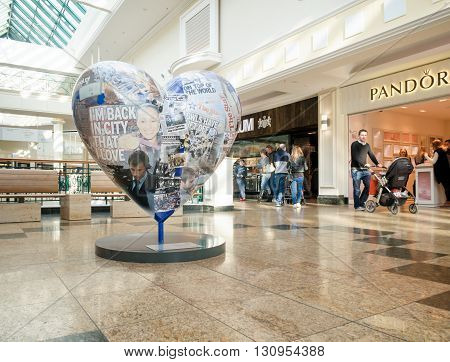 SHEFFIELD ENGLAND - FEBRUARY 9: A heart shaped advertising structure within Meadowhall Shopping Centre. Meadowhall Sheffield England on 9th February 2016.