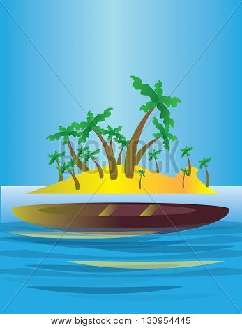 An abstract island in the sea with yellow land and green palms with a boat. Digital vector image.