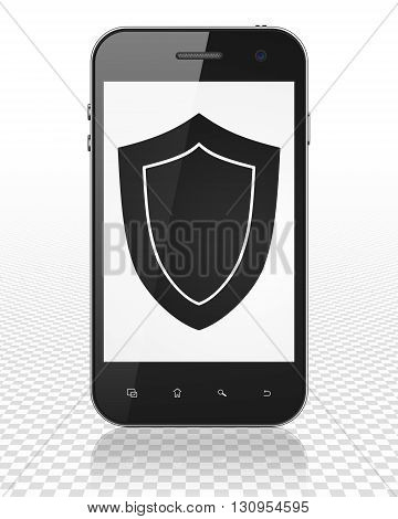 Privacy concept: Smartphone with black Shield icon on display, 3D rendering