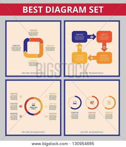Business diagram set. Templates for arrow diagram, doughnut chart and cycle diagram